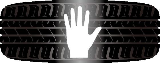 タイヤ一本の接地面積は、わずかハガキ1枚分を表現した画像